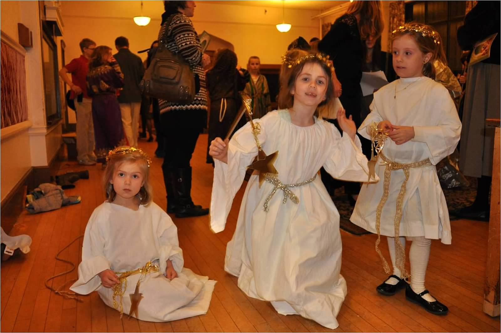 Backstage at the Christmas pageant